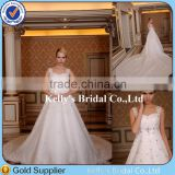 Romantic ! Real Sample New Arriving Short Sleeve Appliqued Crystal Beaded Elegant Ivory Wedding Dress