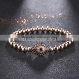 Famous Brand Men Jewelry 4mm Round Bead Micro Pave CZ Turkey Eye Connector Men Macrame Bracelet