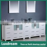 "82"" white bathroom vanity with glass doors"