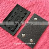 High quality black varnish debossed logo metal leather patch,leather metal label