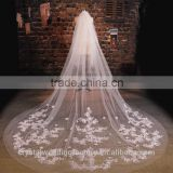 2015 wholesale white or Ivory long lace flower cathedral wedding veils accessories 3 meters long and 1.5 meters width LV03