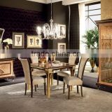Bisini Luxurious Wooden Inlay Square Dining Table With Wine Cabinet And Buffet/European Antique Dining Room Furniture(MOQ=1 SET)