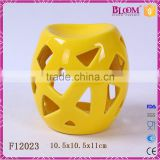 ceramic craft hollow out desgin yellow incense burner