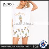 MGOO Custom Design Women Pyjama Set Screen Print Crop Top With Full Print Shorts Funny Pajamas Set