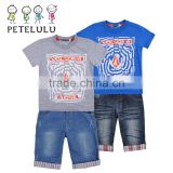 Hot sale children clothing set boy casual clothes suit(t-shirt+jean shorts)summer kid garment retail