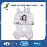 Fashion baby embroidered cartoon hat fancy baby 100% cotton hat shoes set,babies product