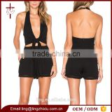 Clothes 2016 summer wrap front black sexy romper womens playsuit