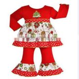 Yiwu Boya new design boutique girl Christmas clothing baby girls ruffle icing pants clothes set china