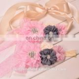 Ivory sash Baby Girl Sash Matching Headband Photography Props wedding Sashes