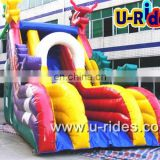 Inflatable bouncer with slide for children jumping