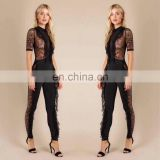 wholesale factory custom transparent sexy body suit lace romper black jumpsuit for women 2017
