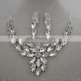 Luxurious Leaf crystal bridal wedding necklace+earrings+tiara jewelry sets jewelry wholesale china