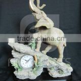 Polyresin elephant statue decorative desktop clock