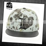 Fashion fancy custom constructed female floweral print trucker hat no mesh with flat leather brim