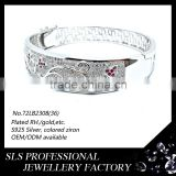 2015 wholesalers jewelry 925 sterling silver bangle white gold plating new design bracelet -SLS