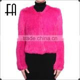 Factory direct wholesale price round neck rabbit knitted fur jacket