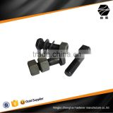 black hex cap bolt with washer and hex nut