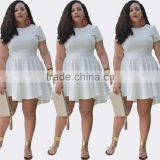 F20295A New fashion plus size summer chiffon dress for fat women short sleeve casual dress plus size women joker clothing