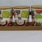 eco-friendly bamboo fiber condiment bowl with bamboo cover and shelf                                                                                                         Supplier's Choice