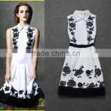 2014 Newest fashionable famous brand turn-down collar sleeveless woolen embroidery women autumn dress P112