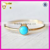 Fashion sterling silver jewelry gemstone stackable wedding band small round turquoise gold ring