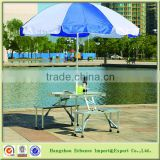 Outdoor aluminum Portable Folding Outdoor Camp Suitcase Picnic Table and 4 chairs with Umbrella