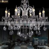 Modern Luxury Hotel Lobby Chandeliers Lighting Smoky Grey Colored Glass Chandelier Crystal Hanging Lighting Fixture CZ3019/8S