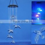 wholesale cheap humming bird design led solar color changing acrylic wind chime