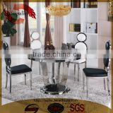 new royal green color marble top round stainless steel dining table and chair sets designs