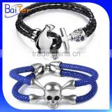 Hot Sale Stainless Steel Exotic handmade North Skull Stingray Bracelet/Arrow Cuff Mens Leather Bracelet Anchor Bracelet