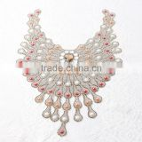 wholesale custom sew or iron on glass stone crystal neckline rhinestone flower aqqlique beaded diamond applique patch