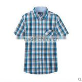 British style apparel 100% cotton checked short sleeve wholesale plaid casual mens shirts