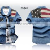 Wholesale children new model cotton custom branded colored jeans shirt boys denim