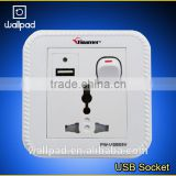 Hot Selling Wallpad White PC110~250V Electrical Universal Wall Socket with Switch Usb Charger Port USB Power Wall Light Socket