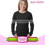 Wholesale kids clothes black t-shirt organic cotton China alibaba newborn long sleeve plain children t-shirts for 3 years old