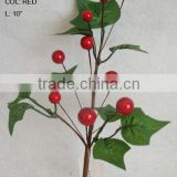 "wholesale high quality artificial moring glory leaf and foam red berry pick 10"" branches pick decoration in christmas"