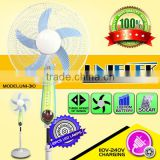 Free use sun power supply solar dc fan emergency lighting pedestal 12v battery rechargeable fan