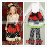 2015 lastest style IRL pic fashion baby girl children clothing outfit soft lace damask christmas girls outfits