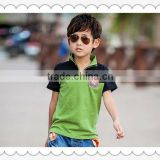 2015 summer children clothes sets kids boys clothing sets Children's T-shirt with short sleeves plaid lapel pants suit