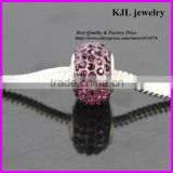 KJL-A0115 wholesale loose bling crystal amethyst paved large hole beads charm silver european beads