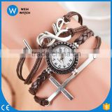 Alibaba Hot Relogio Feminino New Leather Woven Bracelet Quartz Watch Vintage Women Cross Pendant Ladies Watches VW004