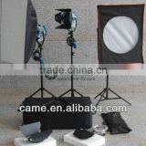 Photography Equipment 3*650W Fresnel Tungsten Light Spot Video Studio Lighting +Softbox +Stands