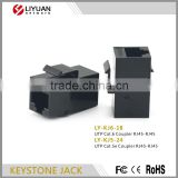 LY-KJ6-18 180 degree female utp 8p8c rj45 inline coupler KEYSTONE JACK cat6 network rj45 connector