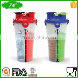 700ml Protein shaker bottle with wire whisk or metal ball for powder in gym