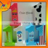 No.1 shape Coin Bank, Promotion Gift, Plastic coin bank for the Children, Lovely Money Box.