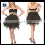 New Design Wholesale Custom Made Mini Sexy Sweetheart Black Tulle With Gold Belt Corset Women Cocktail Dress C0064