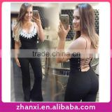 Lace bandage girls fashion long braces jumpsuits wholesale women bodysuits ladies sexy
