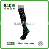 Fancy navy cuff white dots green toe and heel black knee high sports socks
