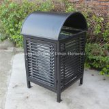 Powder coated metal trash receptacle rubbish bin outdoor trash can