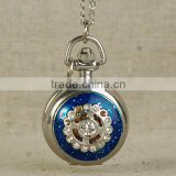 Factory Price Customized New 2015 Blue Women Rhinestone Atique Quartz Pocket Watch On Chain Necklace